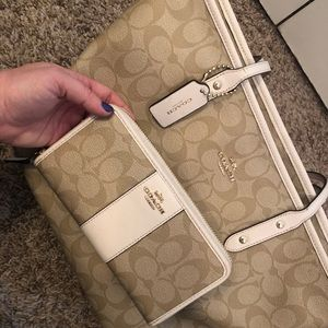 COACH Signature Leather Tote & Wallet